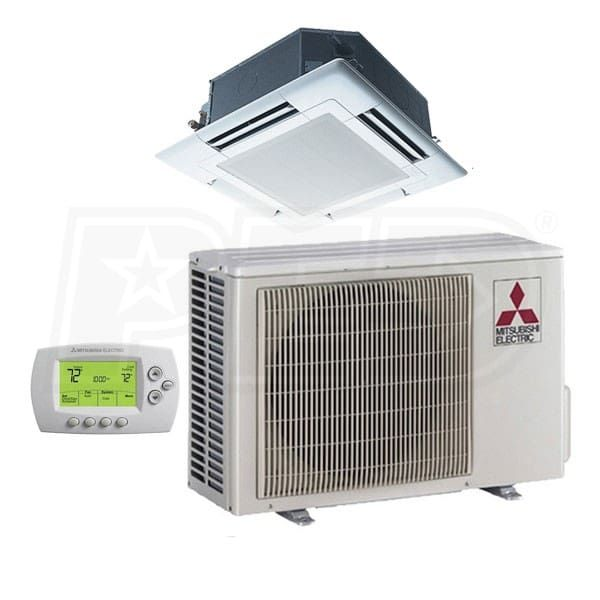Mitsubishi Plz A18nha 18k Btu Cooling Heating P Series Ceiling Cassette Air Conditioning System 14 2 Seer Heating And Cooling Heat Pump System Air Conditioning System