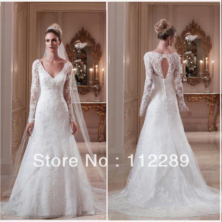 2014 best sale white long sleeve lace wedding dress with for White long sleeve lace wedding dress