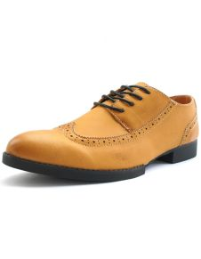 Modern Yellow Pointed Toe Lace Up PU Leather Dress Shoes for Men