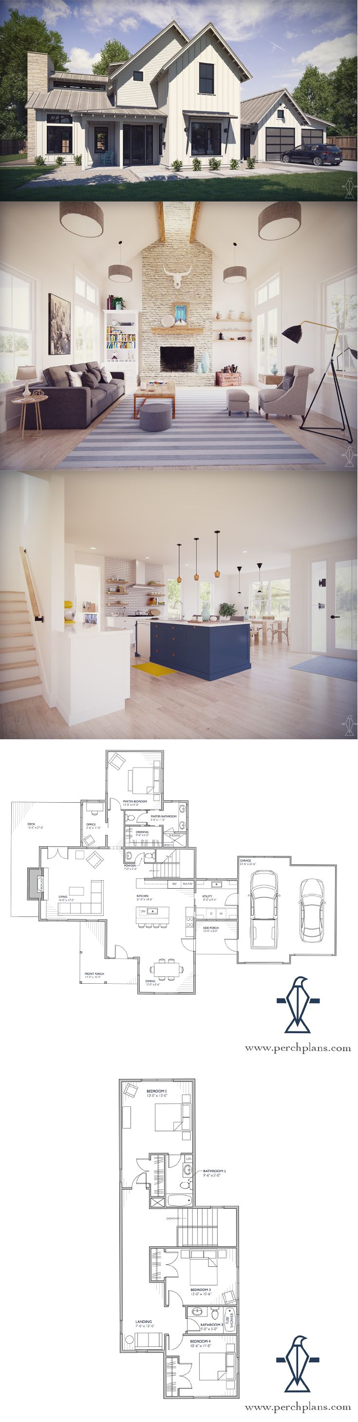 Our Normande modern farmhouse floor plan is perfect for families with its open concept living space, main level master bedroom, and 3 additional bedrooms upstairs.