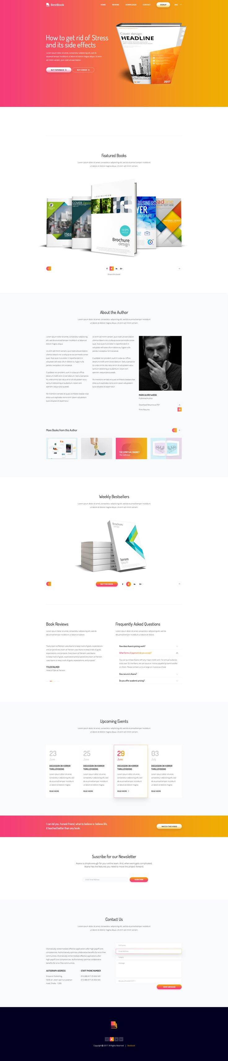 Bestbook - Book Author & Marketers Landing Page PSD Template #simple #story #unique • Download ➝ https://themeforest.net/item/bestbook-book-author-marketers-landing-page-psd-template/20205831?ref=pxcr