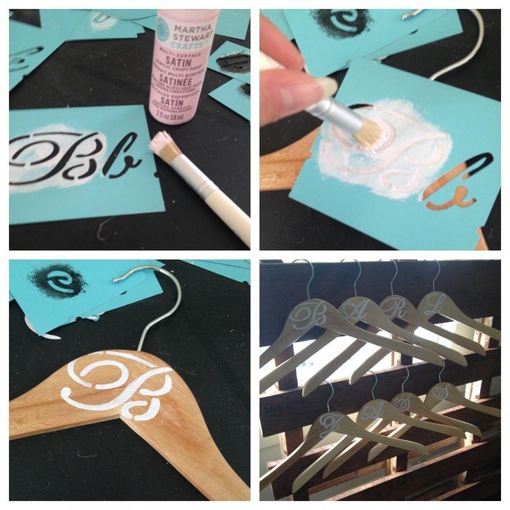 DIY personalized bridesmaid hangers/bridesmaid gifts.