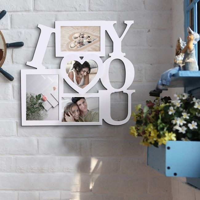 "Adeco 'I Love You' White 4-opening Picture Frame (4 Openings ""I Love You"" Picture Frame) (MDF)"