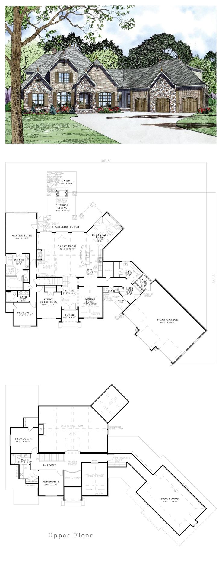120 best new house floor plans images on pinterest house floor craftsman european french country house plan 82164