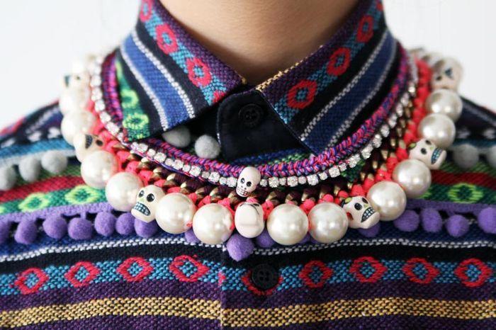 IMG_0083: Cream Blouses, Black Floppy Hats, Mexicans Collars, Black Fringes, Img0083, Silk Blouses, Black Silk, Accessories, Aztec