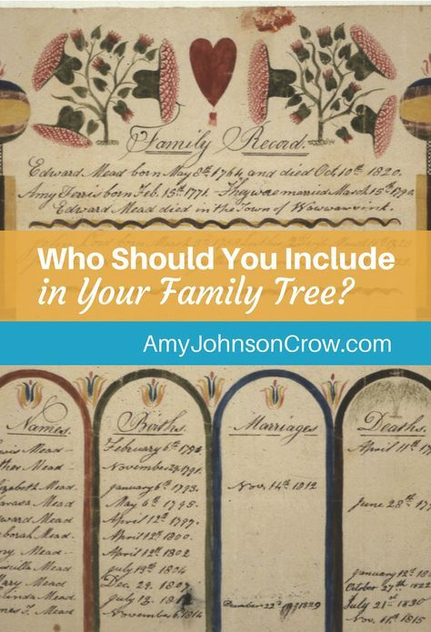 Step-children. Half-siblings. In-laws. it can get complicated! Who should you include in your family tree and who should you leave off?