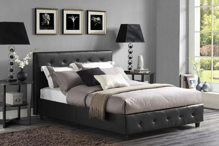 Modern Queen Bed Frame Leather Upholstered Tufted Headboard Bedroom Furniture  #DHP #Contemporary