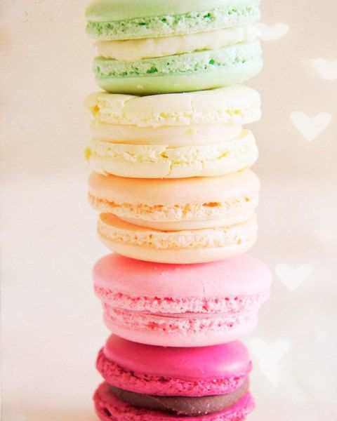 Heart Rainbow Macarons - 8x10 Fine Art Food Photography. French macaron cookies in pale pink rose lemon pistachio. $30.00, via Etsy.