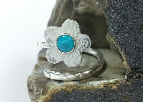 Sterling Silver Adjustable Flower Ring with by SilverbirdDesignsUK