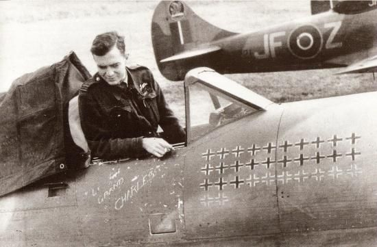 """Pierre Clostermann with Hawker Tempest JF-E  """"Le Grand Charles"""" (SN222), June 1945"""