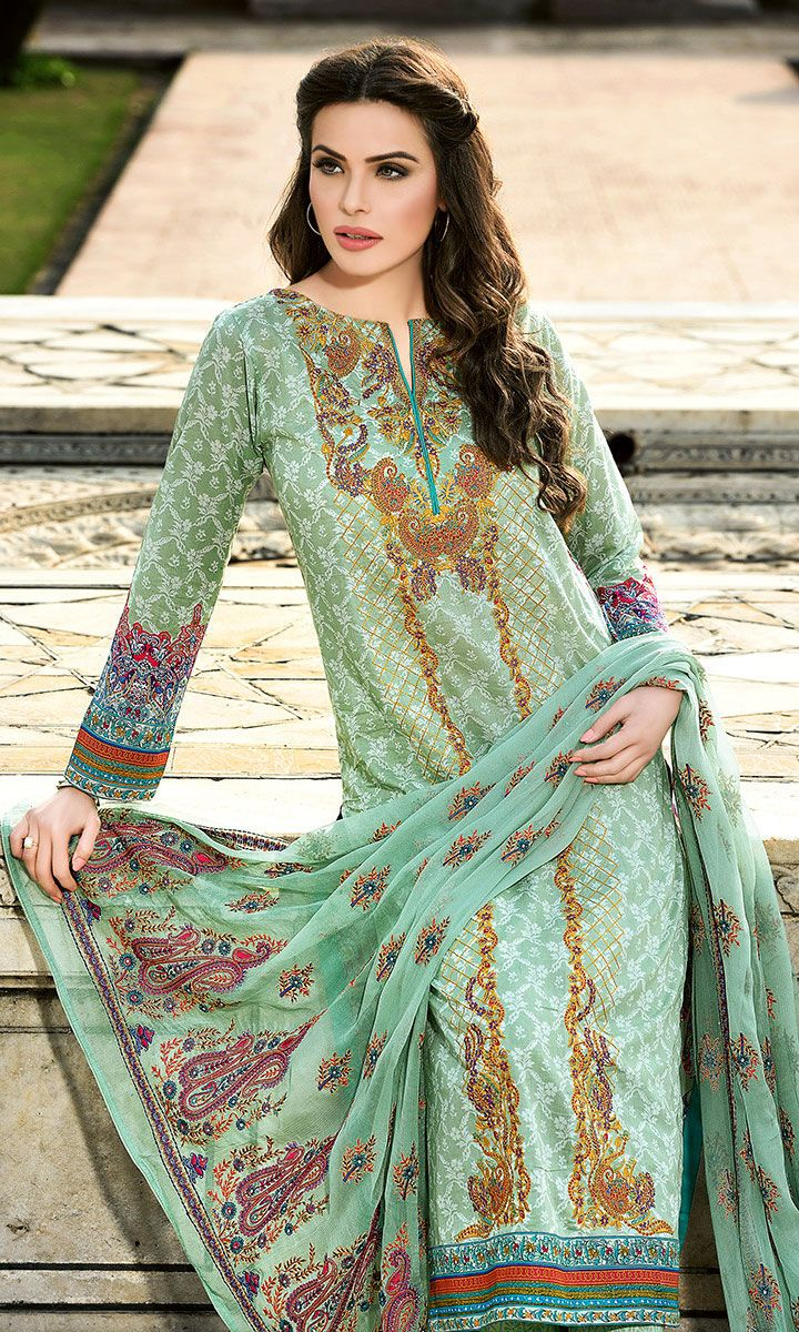 Warda spring summer collection 2016 vol 1 with prices beststylo com - Light Green Embroidered Cotton Lawn Dress Pakrobe