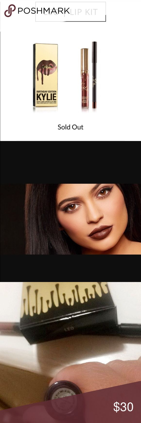 Kylie Jenner SOLD OUT Lip Kit LEO❤️ ✨Kylie Jenner Birthday Edition(Golden) in Beautiful LEO❤️ Purchase contains: 1pencil lip liner&matte liquid lipstick Brand new Popular  Sold Out! 100% authentic Due to sanitary reasons I cannot take makeup back on this particular product Kylie Cosmetics Makeup Lip Liner