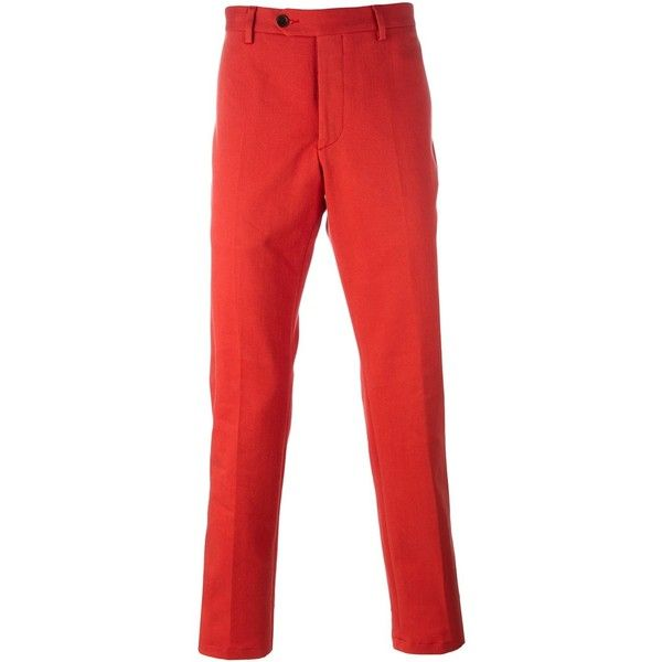 Al Duca D'Aosta 1902 - slim fit chino trousers - men -... (5.840 RUB) ❤ liked on Polyvore featuring men's fashion, men's clothing, men's pants, men's casual pants, red, mens chino pants, mens chinos pants, mens cotton pants, mens slim fit chino pants and mens red pants