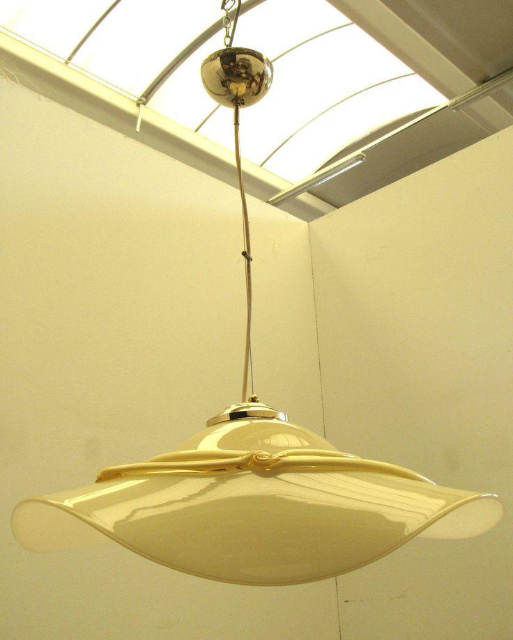 Lampadario In Vetro Murano  Anni 70/80  Una Luce • EUR 65,00
