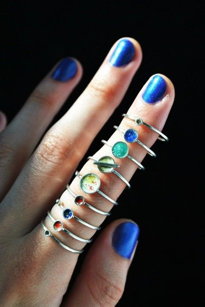 Jewels: ring, galaxy, solar system, rings,, blue colors planets rings ring color, space planets small rings, sunglasses, silver, stacked jewelry, stacked rings, planets, planet, rings and tings, silver rings, teal, ring, space, world, rings cute summer, nerd, grunge, jewls, rings, jewels, mid finger rings, knuckle rings jewels jewelry eye teal beach boho hippy hipster cold russianeye, jacket - Wheretoget