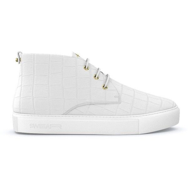 Swear Maltby sneakers (6,440 CAD) ❤ liked on Polyvore featuring men's fashion, men's shoes, men's sneakers, white, mens chukka shoes, mens white shoes, mens crocodile shoes, mens white sneakers and crocs mens shoes