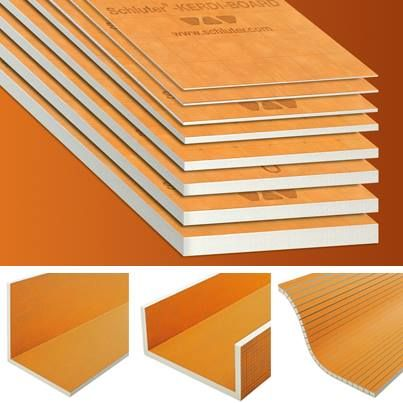 Kerdi-Board: substrate, building panel, bonded waterproofing.