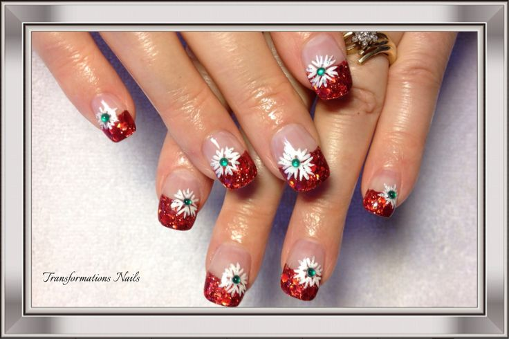 #snowflake nails #diamond nails #red white nails #christmas nails #pretty nail #shine.