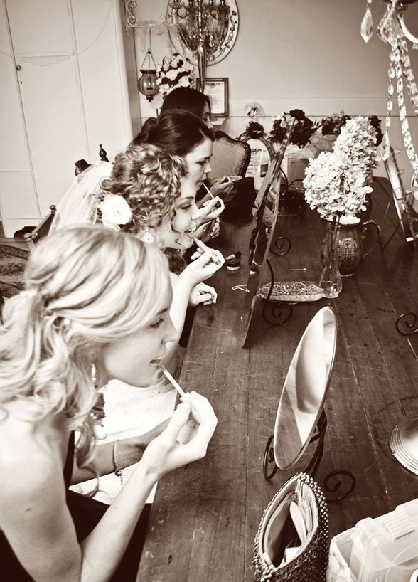 Getting ready together is half the fun of your Big Day. Pucker up for the camera with a fun shot of your bridesmaids getting even more gorgeous! Bridal Party, Bridesmaid Photos, Wedding Photo Ideas