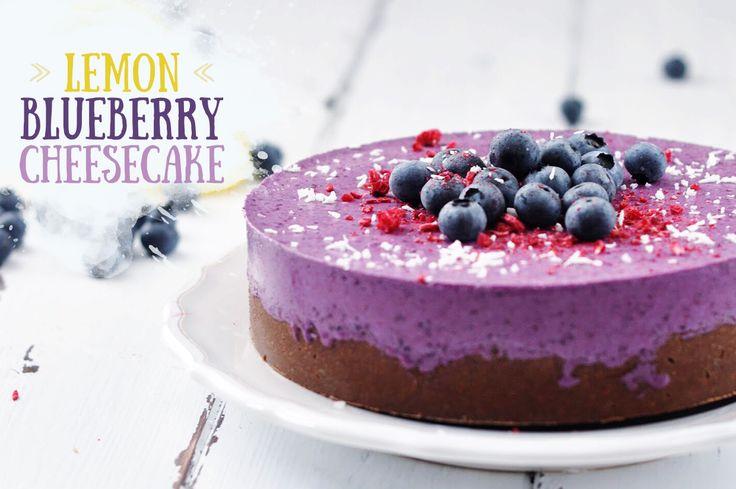 No-Bake Iced Vegan Lemon Blueberry Cheesecake <br />(with a Manner-Schnitten-Crust)