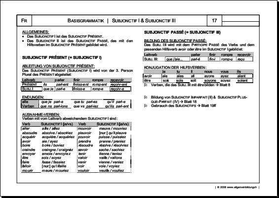 Französisch | Arbeitsblatt Subjonctif I & Subjonctif II Grammatik | 8500 Übungen, Arbeitsblätter, Rätsel, Quiz, Tests, Puzzles, Aufgaben, Lernposter, Kopiervorlagen, Unterrichtsmaterial, Lehrmittel | allgemeinbildung.ch