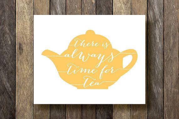 Yellow Kitchen Art - Kitchen Printables - Tea Time Print - Kitchen Typography - Yellow Kitchen Decor - Tea Time Printable - Kitchen Prints