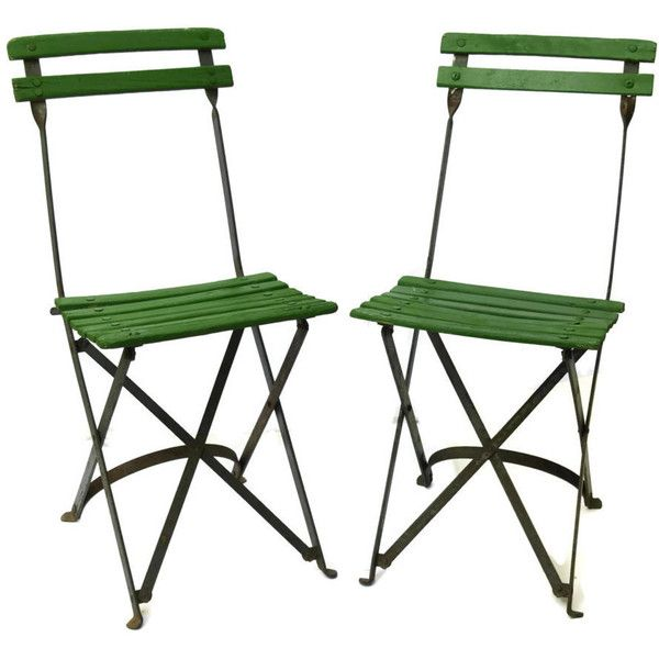 pair of folding french caf chairs vintage green bistro chairs 220 - Folding Patio Chairs