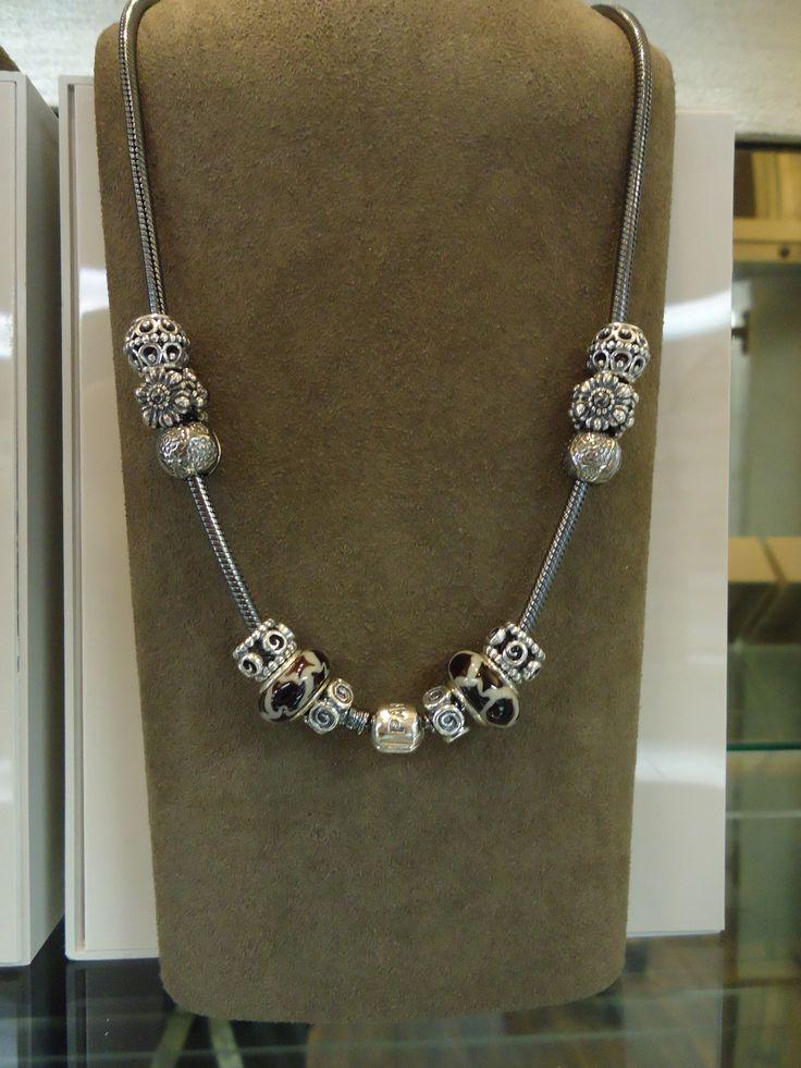 Pandora necklace featuring the Masai Giraffe bead. Just beautiful! #MyPandora Pandora At Jackson Diamond Jewelers in Enid, Oklahoma