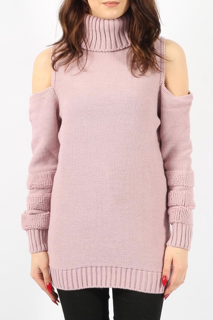 casual chic πλεκτό cold shoulder σε sweet pink  | Για αγορά πατήστε πάνω στην εικόνα