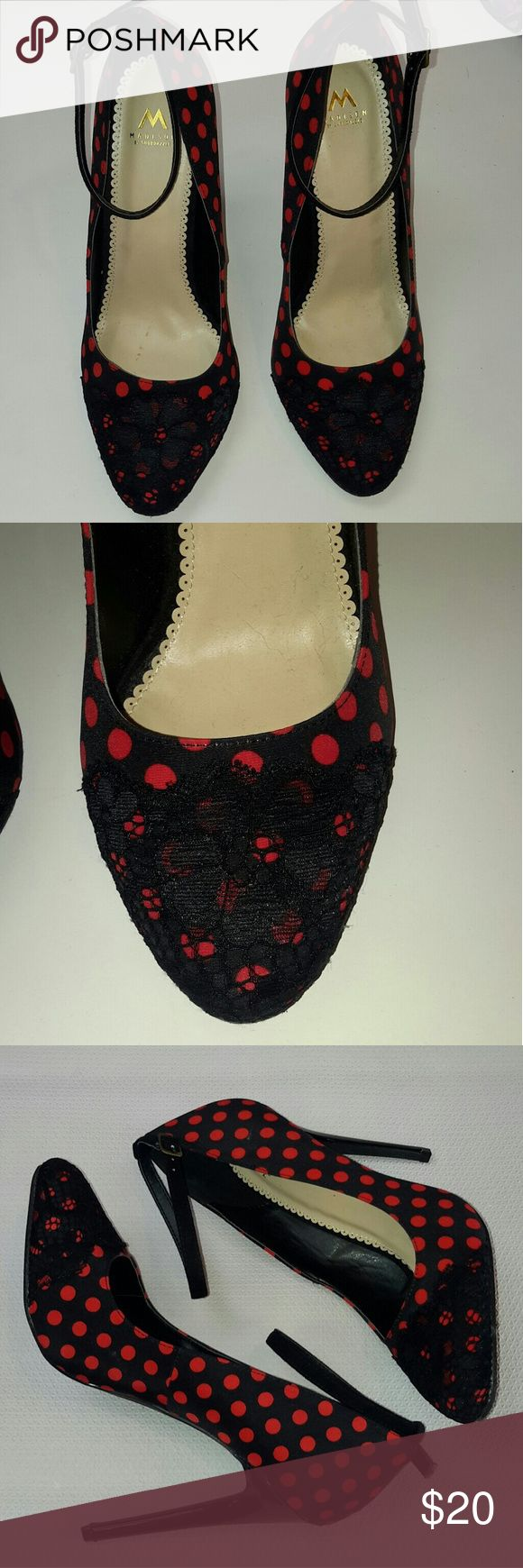 Black and Red polka dot heels 👠❤💋 Whats not to love about these beauties? The lace flowered toe or the red polka dots on a black background? Or maybe its the cute strap around the ankle? Either way, these are a must have! These just may be the cutest heels I have seen in a while! Great for work, date night, out on the town or simple dress up day. Only worn a few times and in great condition! 1 Madison Shoes Heels