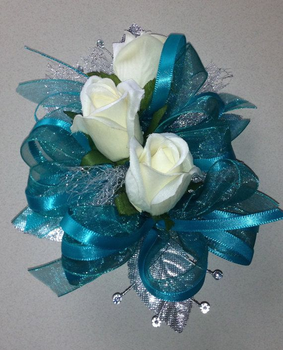 106 best homecoming bouquets images on pinterest bridal bouquets teal blue silk corsage n boutonniere set by florescencebydesign mightylinksfo Choice Image