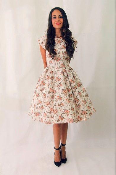50 s floral court manches robe de demoiselle d'honneur, robe de bal des années 50, mad men robes, robe date, remise des diplômes de répétition dîner robe robe faite sur commande