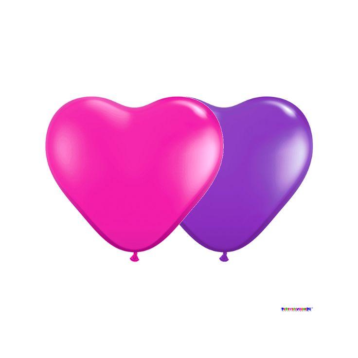 Heart balloons Pink-Violett Ø 25 cm 50 pieces