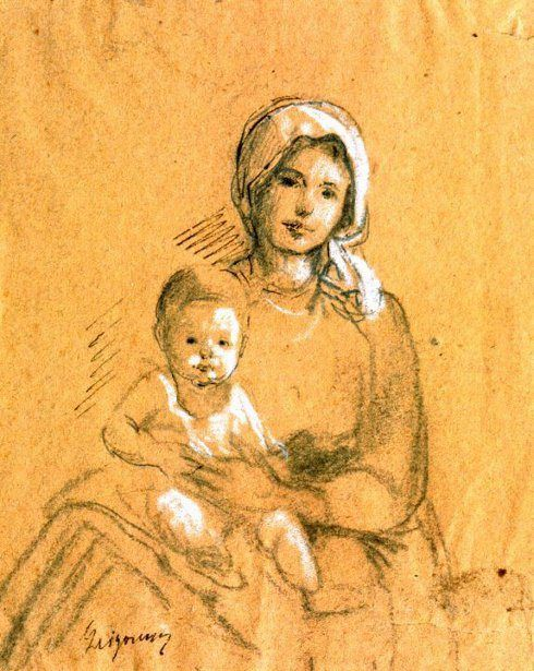 Nicolae Grigorescu - Mother With Baby