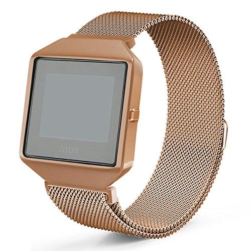 Fitbit Blaze Band with New Metal Frame Hagibis Milanese Loop Stainless Steel Bracelet Strap Magnet Lock Band for Fitbit Blaze Smart Watch-Small Large Black Sliver Rose Gold (Rose Gold Large)