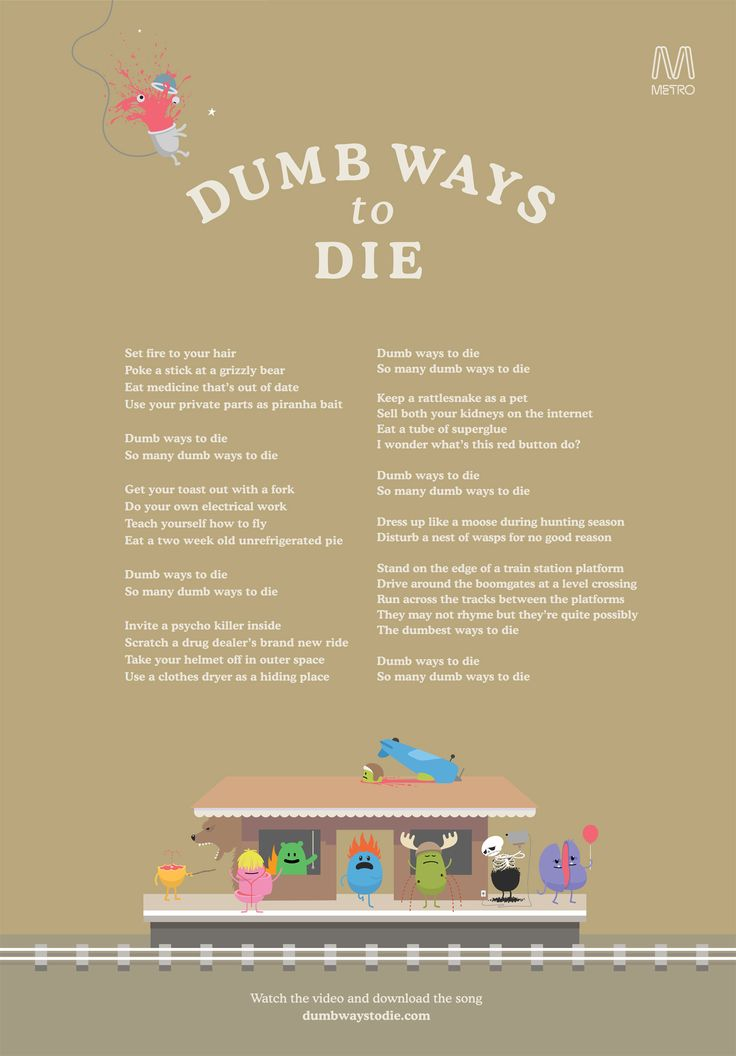 metro trains dumb ways to die essay Dumb ways to die was created by a small team of melburnians who are part of the bigger team that operate the train network in melbourne, metro trains melbour.