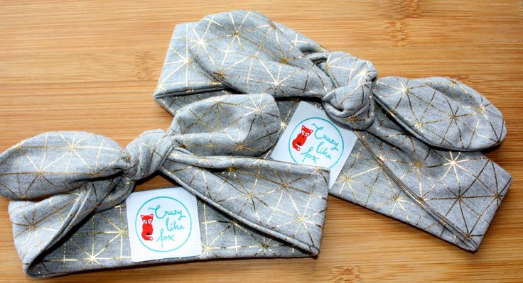 Top knot headband light grey and gold geometric fabric, baby headband, headwear, knotted headband by CrazyLikeFoxShop on Etsy