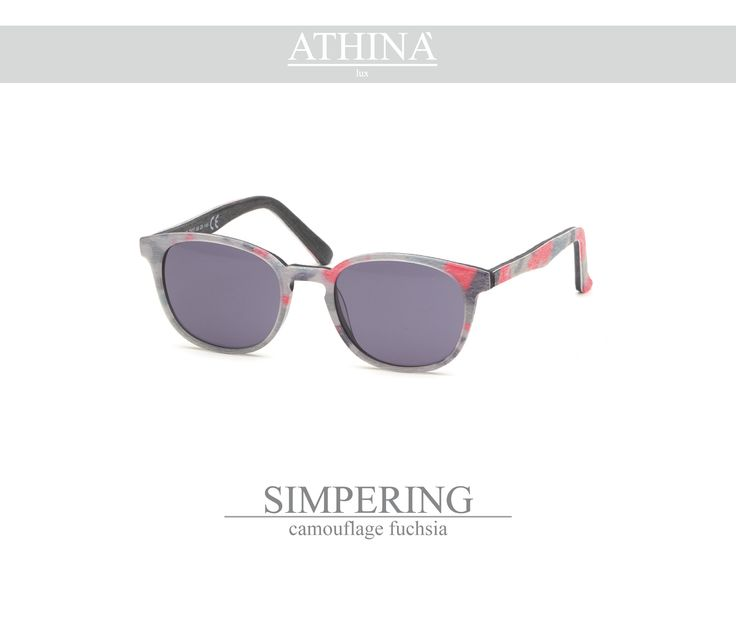 Mod. SIM1414S02 light and trendy-shaped in pure acetate of cellulose with polished camouflage fuchsia frame and standard grey lenses.