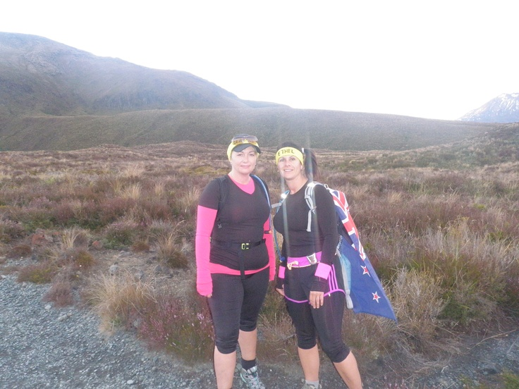 """I was ready for Tongariro but I'm not sure if it was ready for me! I was rearing to go, kitted out with my """"NZ flag cape"""" and walking buddy Kellie. #greatwalker"""