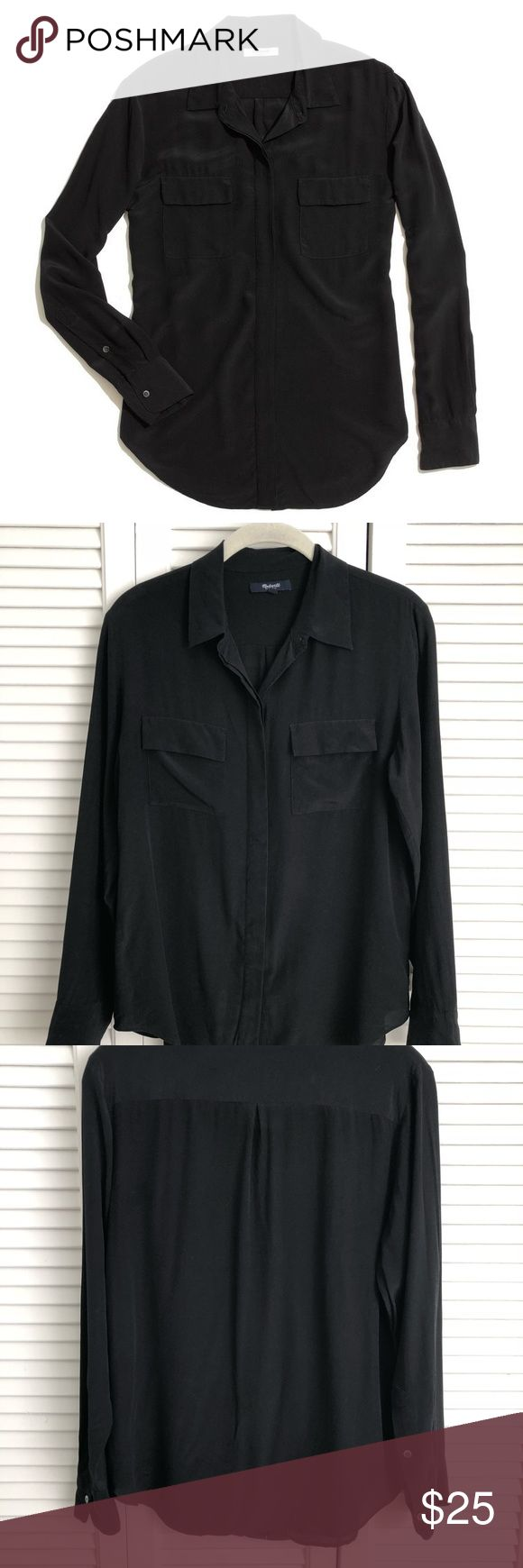 """Madewell Black silk cargo shirt long sleeve small Madewell silk cargo shirt. Tag says small but it might fit better on a XS, please see measurements:   Bust measured armpit to armpit = 19""""  Sleeve length from shoulder seam = 22.5""""  Back length collar to hem = 27"""" Madewell Tops Button Down Shirts"""