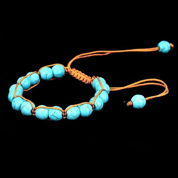 Natural stone bracelet men turquoises beads boho rope braided bracelets bangles …   – Products