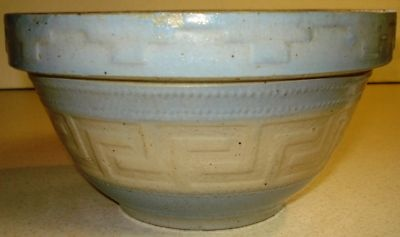 antique stoneware mixing bowl with a Greek Key Design