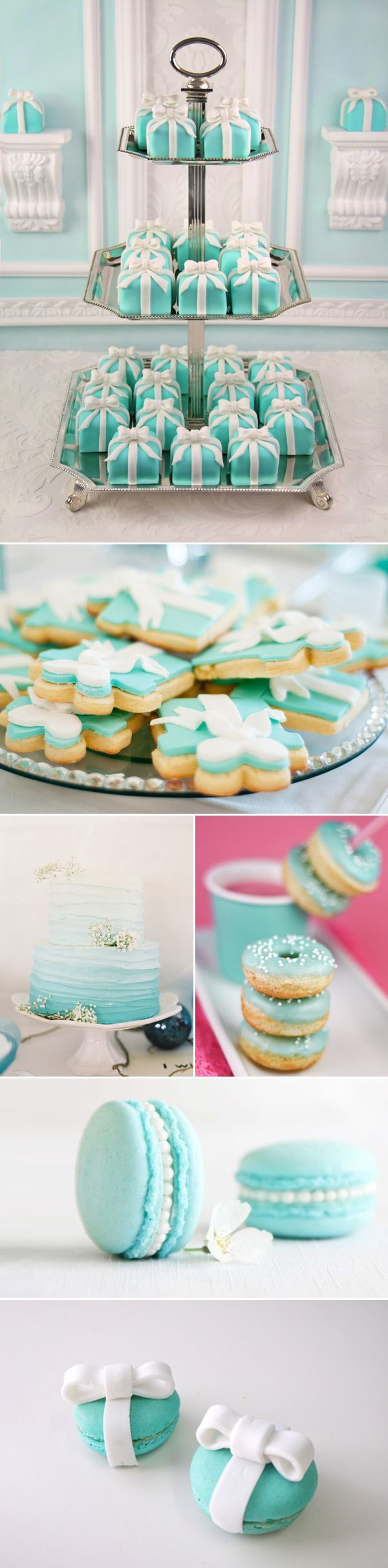 Classic Elegance! Tiffany-inspired Wedding Design Ideas! - Praise Wedding Breakfast at Tiffany's Bridal Shower: love the mini cakes and cookies @abbylondyn @kristenconner7 @cl_conner:
