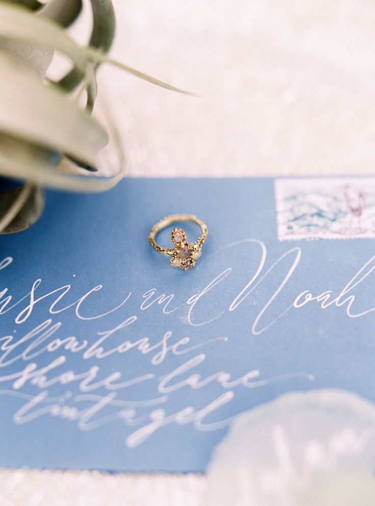 Unique engagement ring. Photography : Lucy Davenport Photography Read More on SMP: http://www.stylemepretty.com/little-black-book-blog/2016/08/18/two-soft-stunning-coastal-wedding-inspirations/