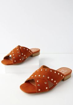 STYLECASTER | Festival Shopping | Chelsea Crew Olympia orange suede leather studded slide sandals