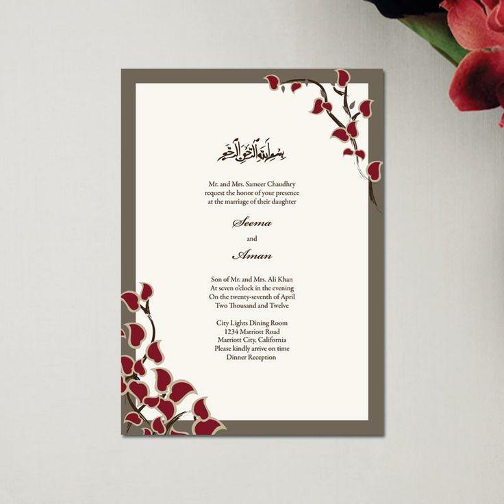 muslim wedding invitations mumbai%0A Muslim Wedding Invitations Classic Arabic Stems Rectangle by Soulful Moon   A tribal twist to a beautiful phrase   BismillahIrRahmanIrRahim