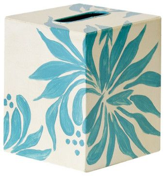 Worlds Away Kleenex Box Turquoise and Cream Floral contemporary-tissue-box-holders
