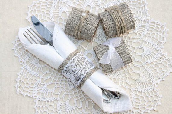 burlap and lace napkin holders