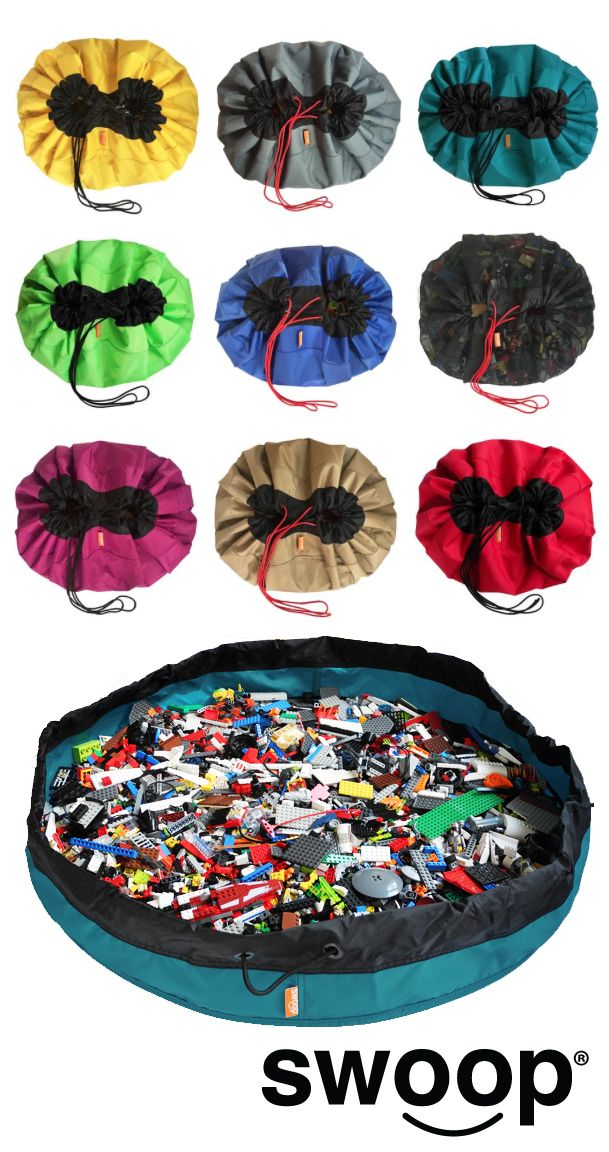 SWOOP BAGS Original Lego Bag | Lego Storage | Playmat | Toy Bag | Toy Storage | Lego Bag | Lego Mat | Toy Mat | Cleanup made simple. Made in USA.