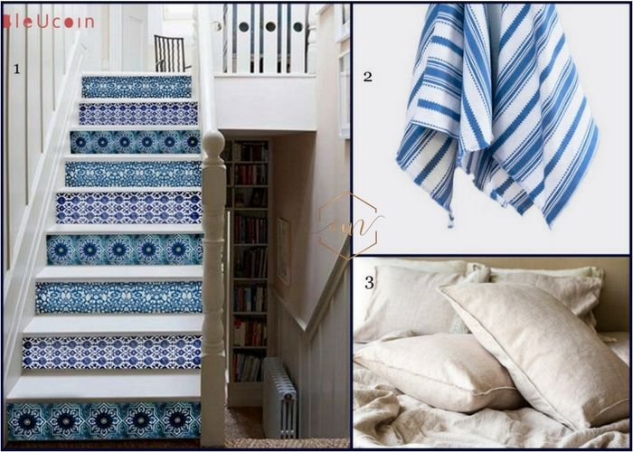 Mamma Mia inspiration- blue and white tiles ,blue and white kitchen towel, linen pillowcase in beige. Natural fabrics -cobalt and white obsession